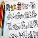 Houses Coloring Page - Dabbles & Babbles