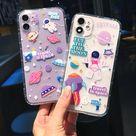 Cartoon Astronaut Planet Transparent iPhone Case
