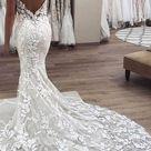 Spaghetti Strap Vintage Mermaid Lace Appliques Wedding Dress,MW288