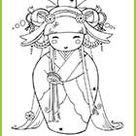 24 coloriages de kokeshi ces petites poupées japonaises porte bonheur