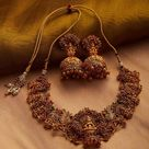 Gold Plated South Indian Lakshmi Temple Jewelry Necklace Set/ 24kt Gold plated Temple work Choker and Jhumka Earrings Set