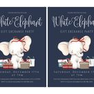 White Elephant Party Template Set, Gift Exchange Party Invitation, Holiday Party Template Set, Christmas Party Invite Instant Download, Edit