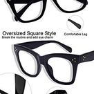 MARE AZZURO Oversized Reading Glasses Women Trendy Large Readers 0 1.0 1.25 1.5 1.75 2.0 2.25 2.5 2.75 3.0 3.5 4.0 5.0 6.0 - Black / 2.5 x