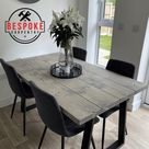 Reclaimed Dining Table - Indoor & Outdoor Table - Calia Style Steel Trapezium Frame Legs Farmhouse Industrial Oak Pine