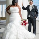 Plus Size White Wedding Dresses Waist with Beaded from dressydances