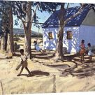 Large Solid-Faced Canvas Print Wall Art Print entitled Little white house, Karoo, South Africa