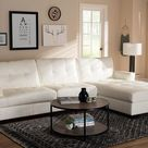 Baxton Studio Adalynn Modern and Contemporary White Faux Leather Upholstered Sectional Sofa