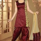 Maroon Silk Embroidered Festival Salwar Kameez