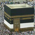 This is the Kaaba. It is the most sacred site in Islam and is located in the Masjid al-Haram in Mecca, Saudi Arabia. Muslims believe that the original Kaaba was built by Abraham and Ishmael a very long time ago.
