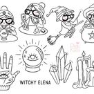Elena Planner Girl  Witchy Clipart  Halloween Digital Stamp | Etsy