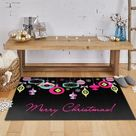 The Holiday Aisle® Triplett Bright Ornaments Black Area Rug Rug Size: Rectangle 2'6'' x 4'2''