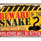 Beware Snake - Metal Sign - 8 x 12