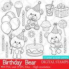 Birthday Bear  Digital Stamps  Clipart | Etsy