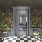 Indian Summer Wall Mural in Graphite from the Zardozi Collection by Designers Guild