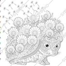 Coloring page for adults. Digital coloring page. Hedgehog. Flowers. Adult coloring page. Printable adult coloring book. Instant download.