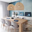 Turquoise Painted Wall Contrasted with Rattan Basket Pendant Lights for a Light Brown Dining Room