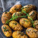 Rosemary + Garlic Mini Hasselback Potatoes - Wholesome Patisserie