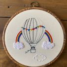 Hot Air Balloon Rainbow Embroidery PDF Pattern   Etsy
