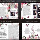 8.5 x 11 Funeral Program Template | 8 Page Bi-Fold Funeral Program | Memorial Program Template | Peony Orchid Rose & Butterflies