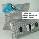 Hysterectomy pocket pillow gift set, Cold/Hot pack pocket, stomach, gastric surgery, Mastectomy seatbelt pillow, C-section, More grays