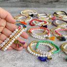 Custom Name Bracelet Stack // Custom Wood Bead Bracelet //   Etsy