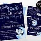 Twinkle Elephant Baby Shower Invitation, Blue Elephant, Twinkle Little Star Invite, Boy Baby Shower, Moon And Stars