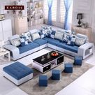 Hot Selling Cheap Modern Fabric Sofa Set Living Room Furniture Fabric U Shape Sleeping Sectionals  Blue Set