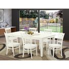 Darby Home Co Beldin 7 Piece Butterfly Leaf Solid Wood Dining Set Wood in White   Wayfair