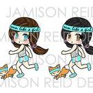 Run Like A Girl Chibis - Choice of skintone/hair color - Please Read Listing Details