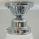 Semi Flush Ceiling Light Vintage Opal Shade. New Chrome Fixture Base