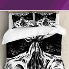 Ambesonne Halloween Gothic Dead Skull Face Close Up Sketch Evil Anatomy Skeleton Illustration Duvet Cover Set, Microfiber, Size King   Wayfair