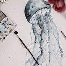 Tutorial Watercolor Jellyfish / Aquarell Qualle malen für Anfänger   jolimanoli