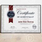 Certificate of Achievement, EDITABLE Certificate, Corporate Award, Certificate Template, Blank Certificate, Elegant Certificate, Download