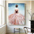Ballerina Gemälde Moderne Abstrakte Kunst Acrylgemälde auf Leinwand original Ballett Kunst Große Wand kunst gerahmt Gemälde rosa blau Koralle Kunst