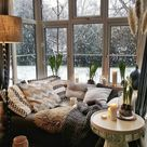 Winter views from a bay window nook, England.