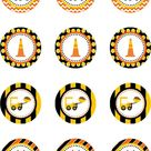 Construction Truck Cupcake Toppers, Dump Truck Birthday Party, INSTANT DOWNLOAD Dump Truck Party, Construction Party Circle Decroration