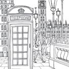 Coloring Europe Charming London Telephone Coloring Page