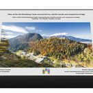 1000 Piece Puzzle. View of the old Ehrenberg Castle surrounded by colorful woods and suspension bridge
