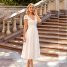 V Neck Wedding Dress Short Sleeve Peals A line Ankle Length Bridal Gown Robe De Mariee For Petite Wo