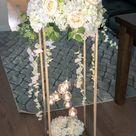 GOLD - Modern Rectangular Tall Metal Stand Wedding Centerpiece Plated