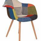 ts-ideen Design Patchwork Sessel Wohnzimmer Küchen Stuhl Esszimmer Sitz Holz bunt NEU