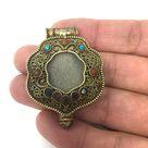 Tibet Pendant Ghau Gau Amulet Box Handcrafted W/Gem Inlays Coral Turquoise