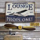 Personalized Pilot Lounge Only Customized Classic Metal Signs   Colorful 20x30cm 30x45cm - 20 x 30 cm