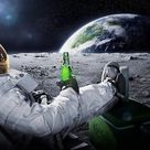 Creatively Astronaut Drink Beer - Canvas Wall Art Painting - 15x20 cm no frame / A