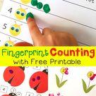 Free Spring Fingerprint Counting Printables   Caterpillar, Ladybug, Flowers