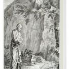 Box Canvas Print. Man in classical dress contemplating a skeleton
