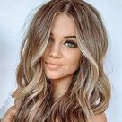 Medium Length Straight Wig Light Blonde Brown Wig Natural Straight Wig Heat Resistant Wig Wigs For White Women Blonde