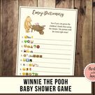 Pooh Emoji Pictionary, Printable Baby Shower Game, Instant Download