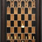 Black Walnut vertical wall mounted Chess Board with Traditional Brown frame and option to include ch