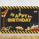 Construction Theme Birthday Party Photography Backdrop - Dump Truck Birthday Background Cake Table Boy Birthday Decorations - Default